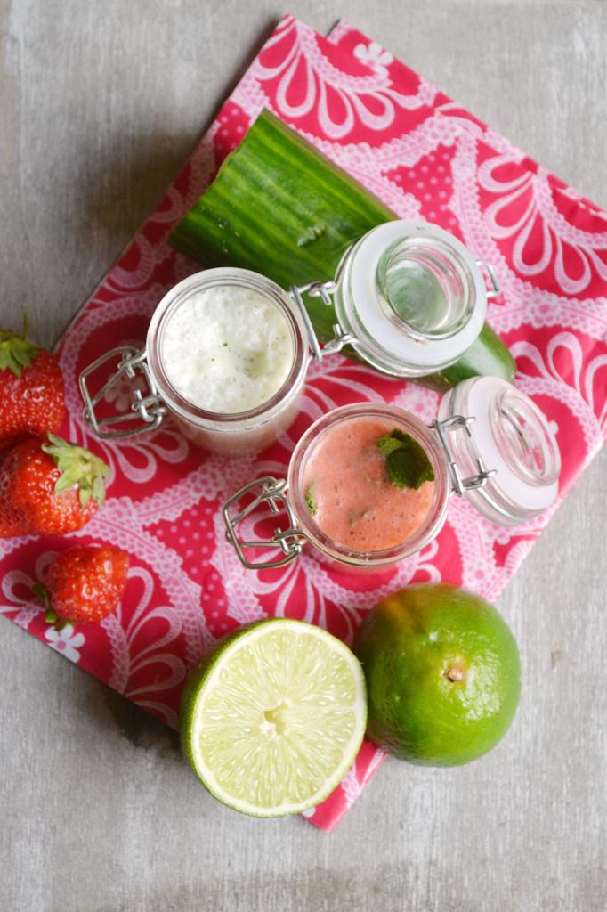 Soupes glaçées concombre menthe et fraises citron vert menthe
