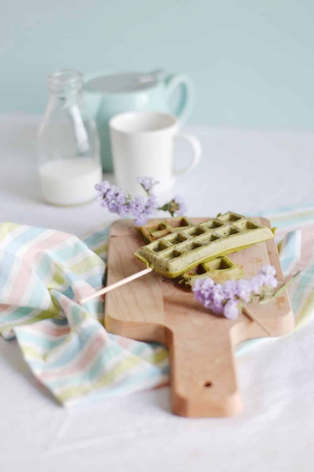 Waffle pops au thé matcha