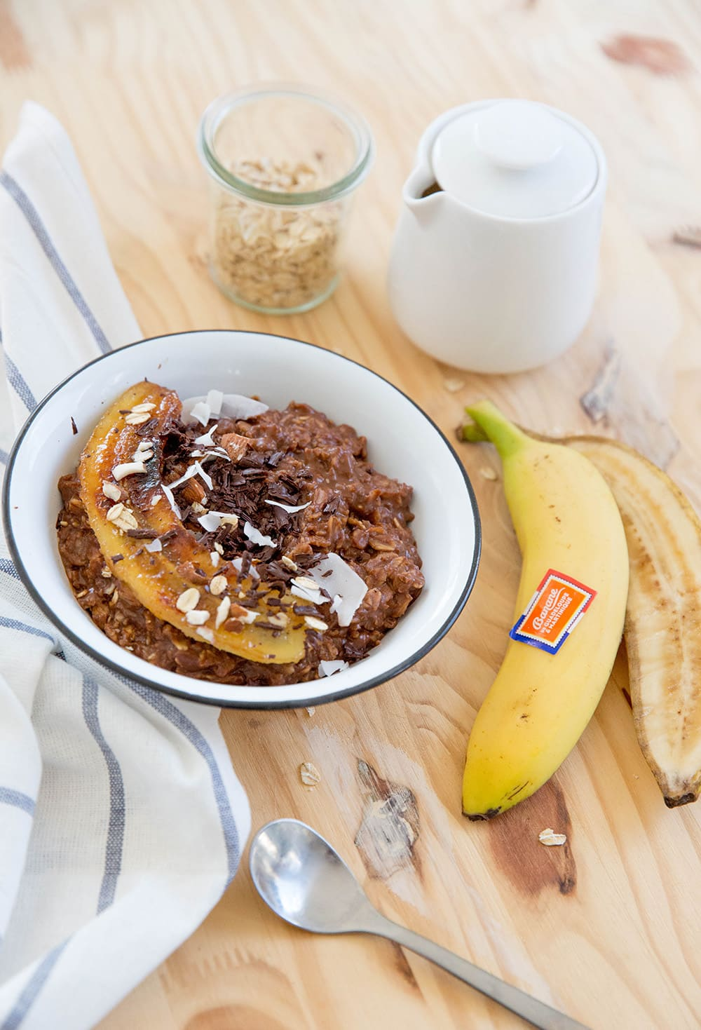 Porridge banane caramélisée chocolat noisette