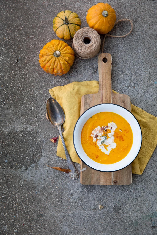 Soupe carotte butternut curry coco