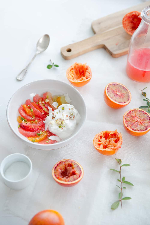 Salade d'agrumes et chantilly au yaourt