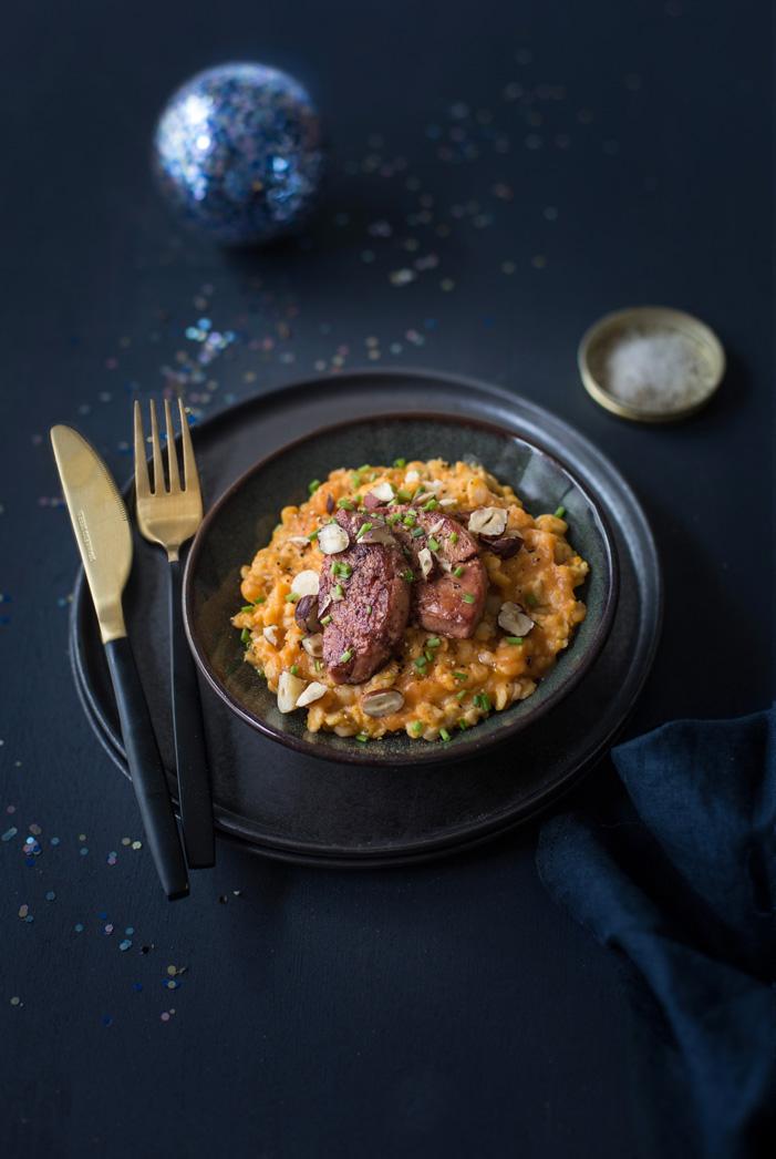 Porridge de courge foie gras poêlé aux épices de Noël