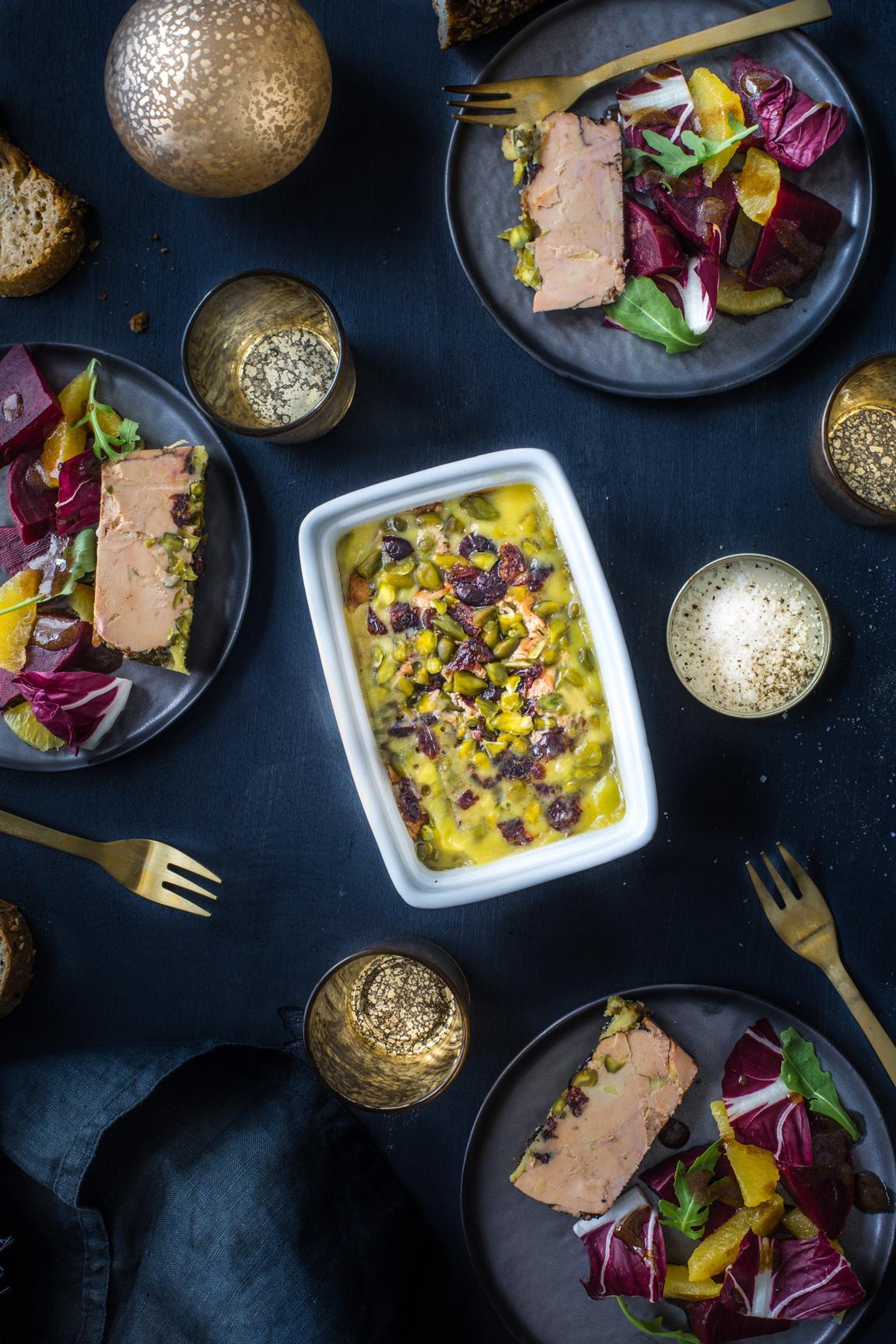 Terrine de foie gras pistache cranberries